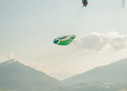 Chambery France (73), September 4, 2014: training above Lake du Bourget - aerobatic paragliding - Philippe Périé