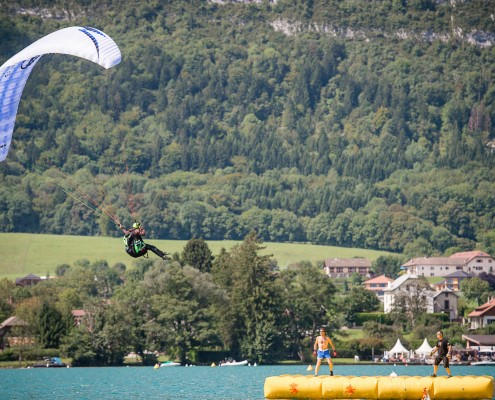 Lake Annecy France, August 28, 2014: french paragliding aerobatic championship